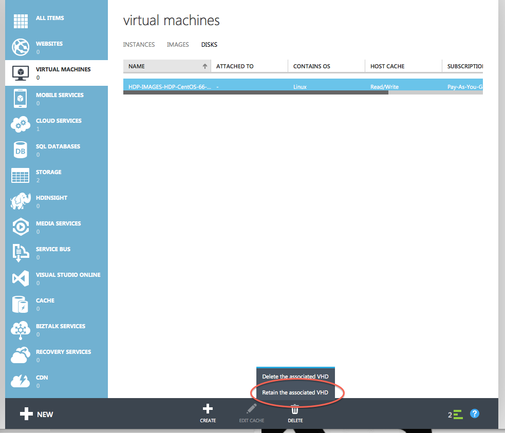 Delete Disk and Keep VHD - Azure