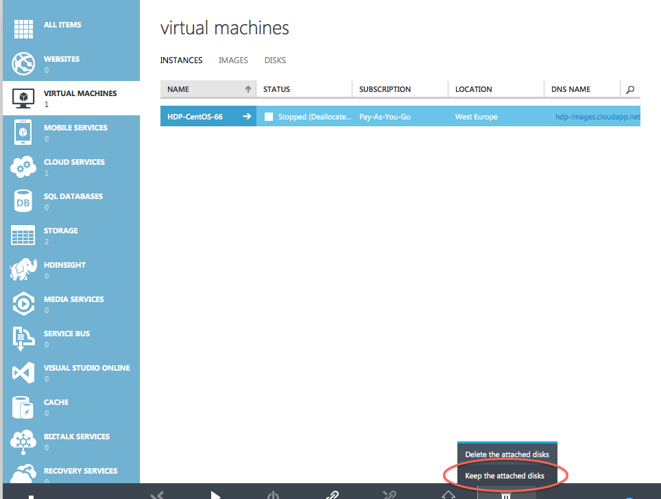 Delete Instance and Keep Disk - Azure
